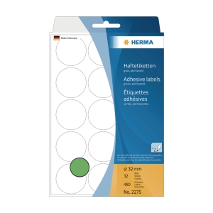 HERMA 顏色標籤圓形 2275 32毫米 綠色 每盒480個標籤