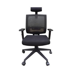 尼龍網布可後仰高背油壓扶手轉椅 黑色
