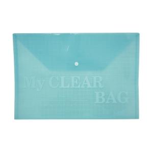 單鈕扣膠公文袋 A4 藍色