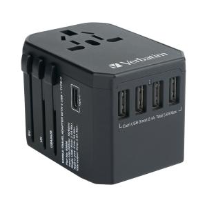 Verbatim 65686 5 Ports 旅行充電器 黑色