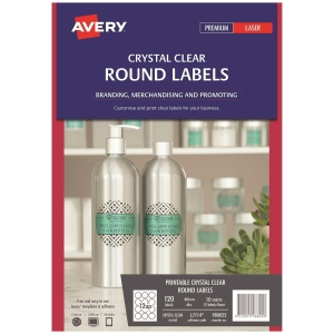 Avery L7114/ 980022 Clear Round Label 60mm - Pack of 120 Labels