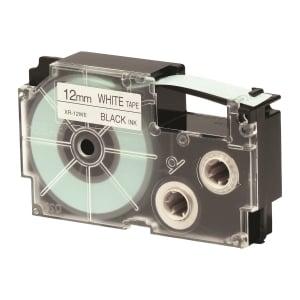 CASIO 卡西歐 XR-12WE1 標籤帶12毫米 x 8米 黑色字白色底