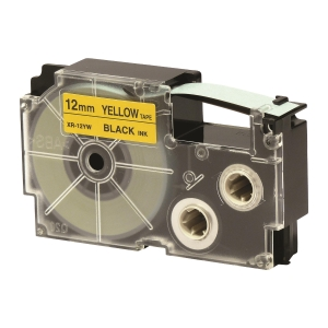 CASIO 卡西歐 XR-12YW 標籤帶12毫米 x 8米 黑色字黃色底