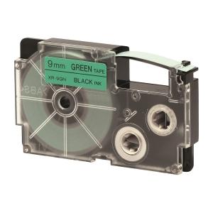 CASIO 卡西歐 顏色標籤帶 XR-9GN1 9毫米 x 8米 黑色字綠色底