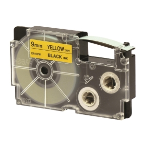 CASIO 卡西歐 顏色標籤帶 XR-9YW1 9毫米 x 8米 黑色字黃色底