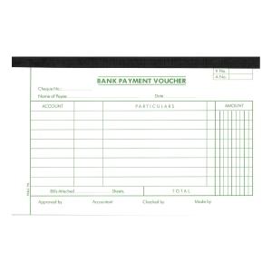 英文傳票Bank Payment Voucher 133x210毫米,每疊45張