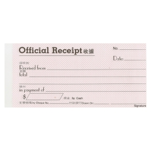 Pre-printed Official Receipt Pad with Copy