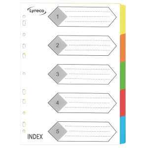 Lyreco A4 Colour Paper Dividers 5 Tabs