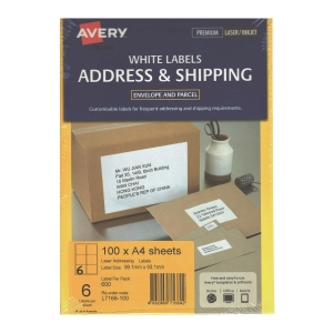 Avery 艾利 L7166-100 鐳射列印標籤 99.1x93.1毫米 每張6個標籤