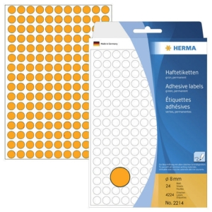 HERMA 顏色標籤圓形 2214 8毫米 螢光橙色 每盒4224個標籤