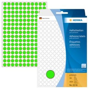 HERMA 顏色標籤圓形 2218 8毫米 螢光綠色 每盒4224個標籤