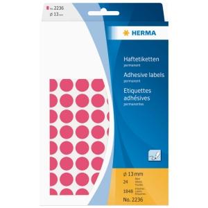 HERMA 顏色標籤圓形 2236 13毫米 螢光紅色 每盒1848個標籤