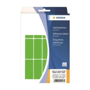 HERMA 顏色標籤長方形 2418 20 x 50毫米 螢光綠色 每盒360個標籤