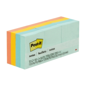 Post-it 653-AST Colour Notes (Marseille) 1-3/8 inch x 1-7/8 inch- Pack of 12