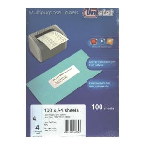 Unistat 多用途標籤 U4676 105 x 148毫米 每張4個標籤