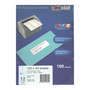 Unistat U4457 Label 105 x 48mm - Box of 1200 Labels