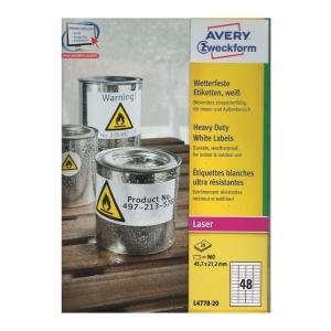 Avery 艾利 L4778 防水鐳射標籤 45.7 x 21.2毫米 每包960個標籤