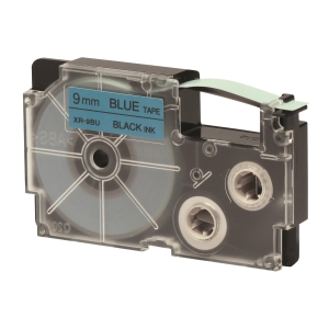 CASIO 卡西歐 顏色標籤帶 XR-9BU1 9毫米 x 8米 黑色字藍色底