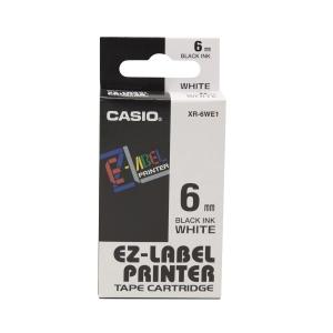 CASIO 卡西歐 顏色標籤帶 XR-6WE1 6毫米 x 8米 黑色字白色底