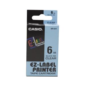 卡西歐 顏色標籤帶 XR-6X1 6毫米 x 8米 黑色字透明色底