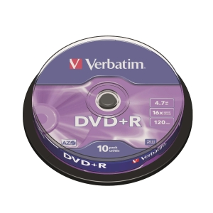 Verbatim DVD+R 4.7GB 可燒錄多功能影音光碟 - 筒裝10隻