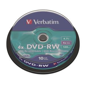 Verbatim DVD-RW 4.7GB 可重寫多功能影音光碟 - 筒裝10隻