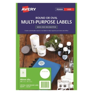 Avery L6112C/ 959164 Clear Round Label 50mm - Pack of 240 Labels
