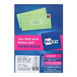 Avery J8551 Clear Inkjet Label 38.1 x 21.2mm - Pack of 650 Labels