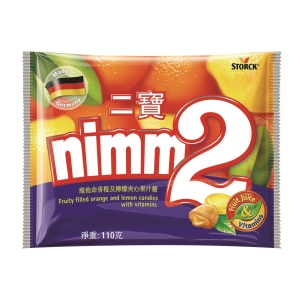 nimm2 二寶 維他命香橙及檸檬夾心果汁糖110克