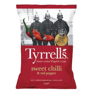 Tyrrell s Hand Cooked English Crisps Chili & Red Pepper 150g