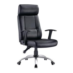 仿皮可後仰高背油壓扶手轉椅 A035