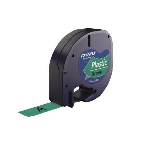 DYMO LetraTag (膠) 標籤帶 12毫米 x 4米 黑色字綠色底