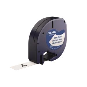 DYMO 91201 Letratag Plastic Tape 12mm x 4m Black on White