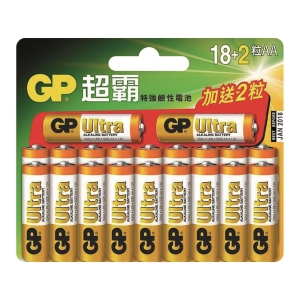 GP 超霸特強鹼性電池  AA - 18+2粒裝