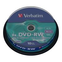 DVD-RW VERBATIM 4.7GB 1-4X SPINDLE PAKKE A 10 STK