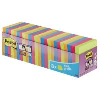 Post-it® super sticky notes 654-SS-VP24 76x76mm ass. farver pk a 24 blokke