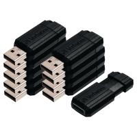 USB VERBATIM PINSTRIPE 2.0 8GB SORT PAKKE A 10 STK