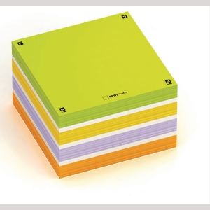 Kubusblok Oxford Digital Memo Notes, 75 x 75 mm, assorterede farver