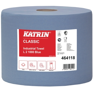 Håndklædepapir Katrin 464118 Classic, industri, blå, pakke a 2 ruller