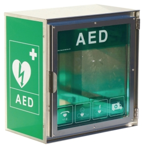 Udendørs hjertestarterskab Cardiaid i rustfrit stål, dansk