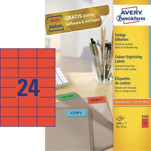 Neonetiketter Avery rød 70 x 37 mm æske a 2400 stk