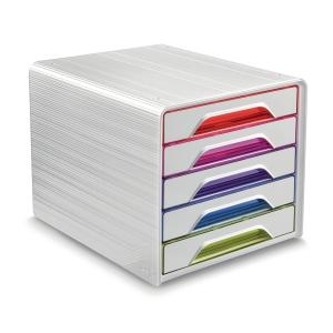 Skuffekabinet Smoove Cep, 5 skuffer, hvid/assorterede farver