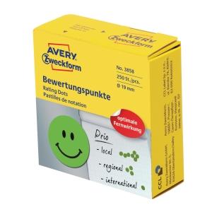 Belønningsetiketter Avery, glad smiley, Ø 19 mm, grøn