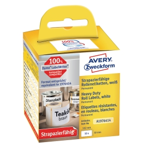 Etiketter Avery Heavy Duty, 59 x 102 mm, pakke a 50 stk.