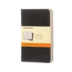 Notesbog Moleskine Cahier Pocket, linjeret, soft cover, 9 x 14 cm, sort