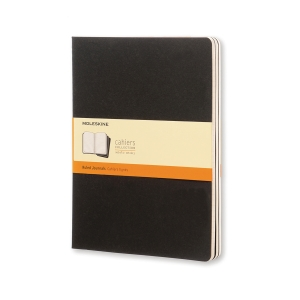 Notesbog Cahier Moleskine, XL, linjeret, soft cover, 19 x 25 cm, sort