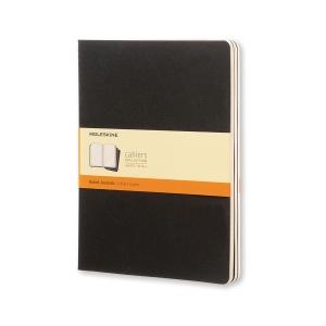 PK3 Notesbog Moleskine Cahier, XL, linjeret, soft cover, 19 x 25 cm, sort