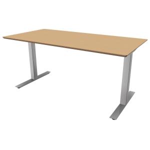 Hæve-sænke-bord Square, 200 x 80 cm, bøg/aluminium