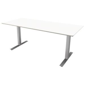Hæve-sænke-bord Square, 180 x 80 cm, hvid/aluminium