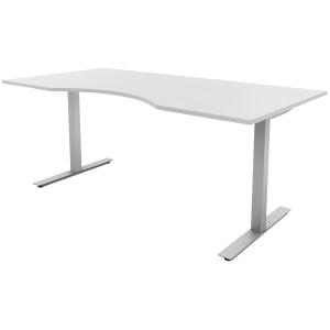 Hæve-sænke-bord Jazz/Square med mavebue hvid/alu 160 x 90 cm